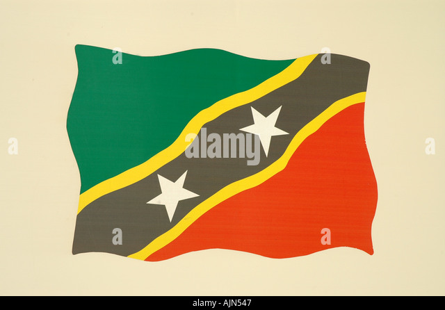 national Flag St Kitts and Nevis eastern Caribbean - Stock Image