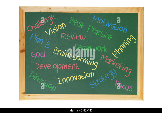Blackboard with Business Concepts - Stock Image