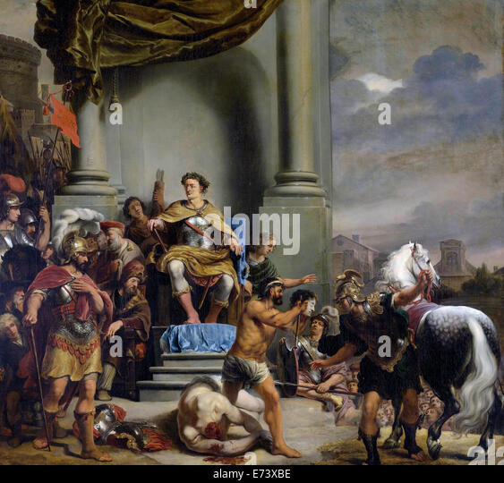 Consul Titus Manlius Torquatus Orders the Beheading of his Son - by Ferdinand Bol, 1661 - 1664 - Stock Image