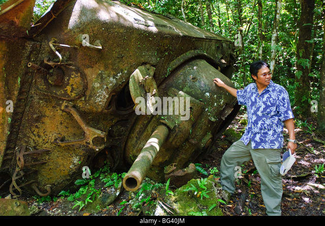 Wreckage of Sherman tank on Peleliu, Republic of Palau, Pacific - Stock Image