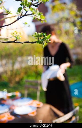 Dinner in a garden. - Stock-Bilder