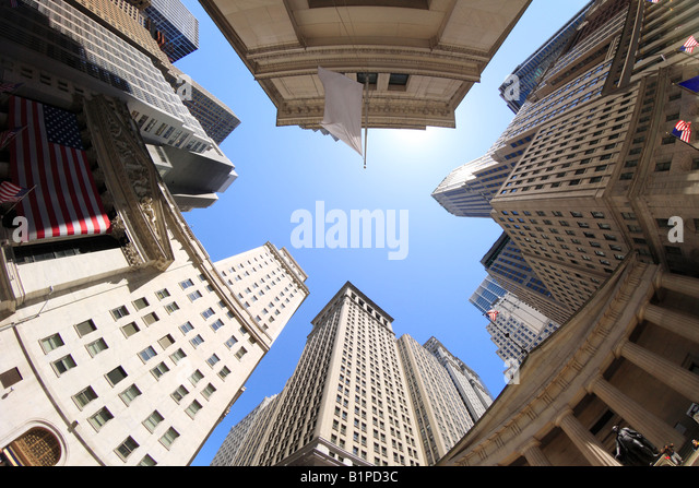 Fisheye view of Wall Street buildings - New York City, USA - Stock Image