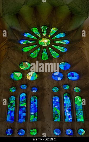 Stained glass window, Basilica Sagrada Família, Barcelona, Spain - Stock Image