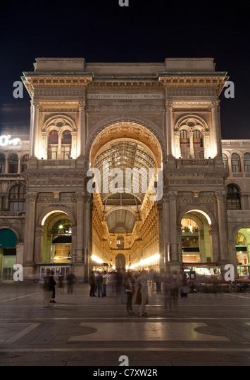 Milan - Vittorio Emanuele galleria in evening - exterior - Stock Image