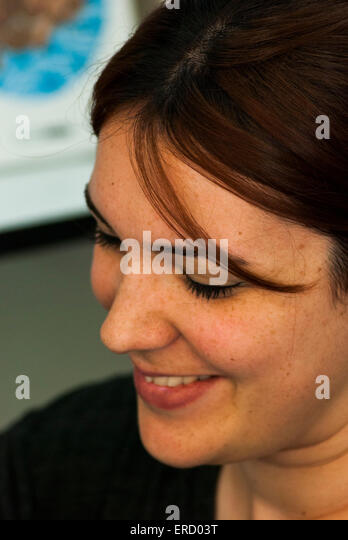 Madrid, Spain - May 30, 2015: Illustrator Ana Oncina signing copies at the Madrid book fair - Stock Image