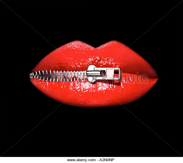 Graphic image of a woman's lips being unzipped. Close-up cut-out on a black background - Stock Image