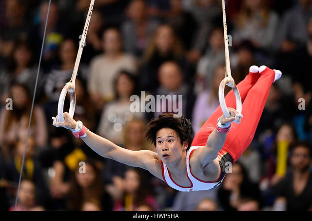 Kazuma Kaya, Japan, on the rings, apparatus gymnastics, Porsche-Arena, Stuttgart, Baden-Württemberg, Germany - Stock Image