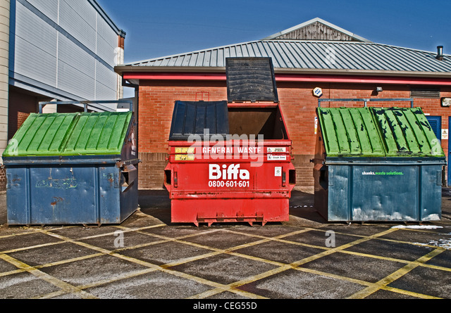 A 'Biffa' waste disposable skip, UK - Stock Image
