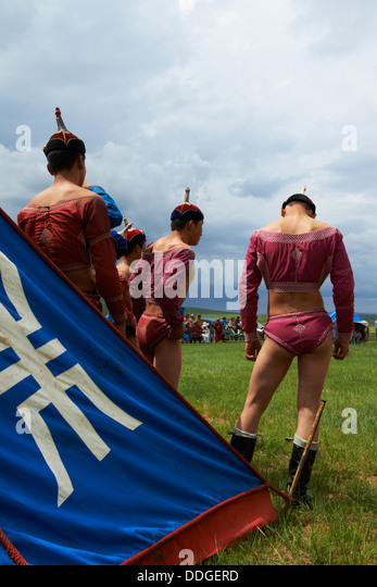 Mongolia, Ovorkhangai province, Burd, the Naadam festival, wrestling tournament - Stock Image