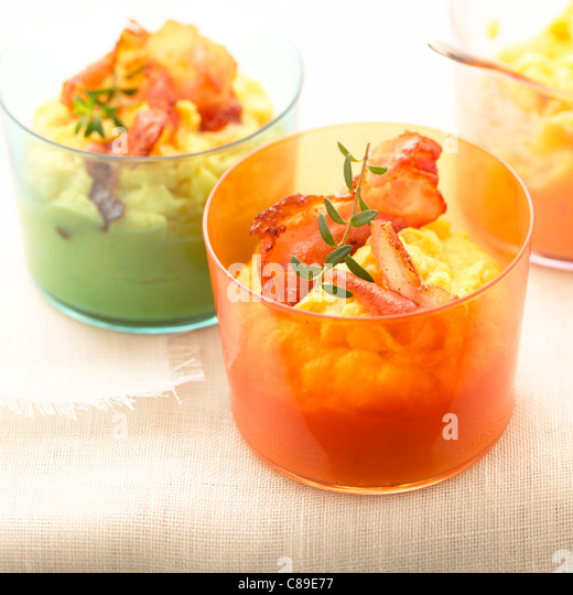 Pureed celery and carrot with bacon - Stock Image