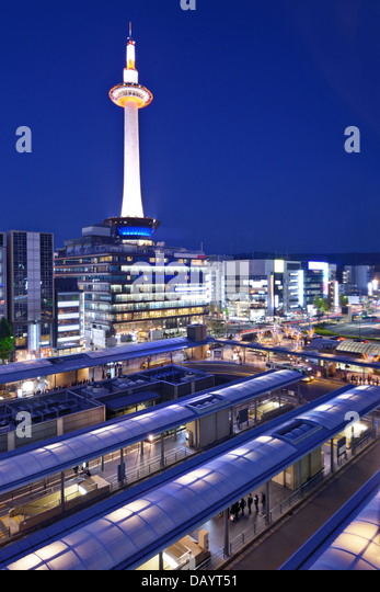 Cityscape of Kyoto, Japan at Kyoto Tower. - Stock Image