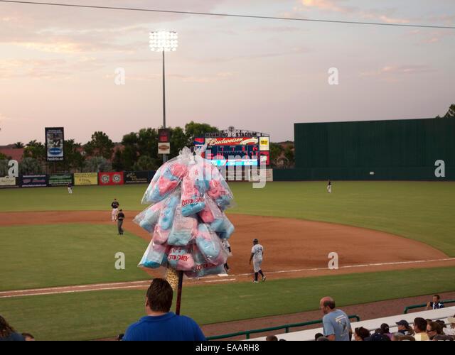 cotton candy vendor at baseball game - Stock Image
