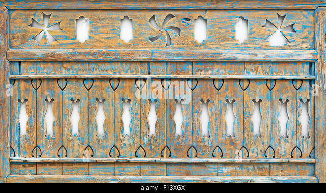 Old painted teakwood panel with abstract carving pattern and wood texture - Stock-Bilder