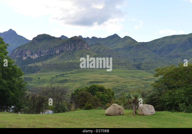 A view upon Cathedral Peak of the Drakenberg Mountain chain in South Africa  - Stock Image