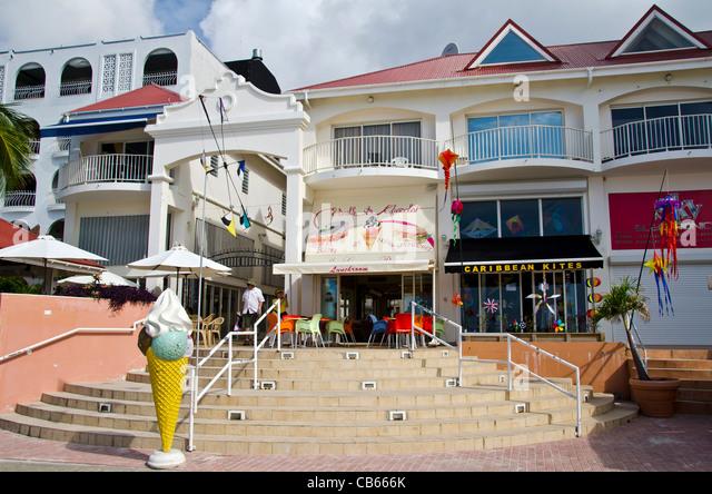 St. Maarten stores shops on Front Street, Philipsburg - Stock Image
