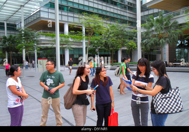 Singapore National University of Singapore NUS University Town school student campus Asian man woman - Stock Image