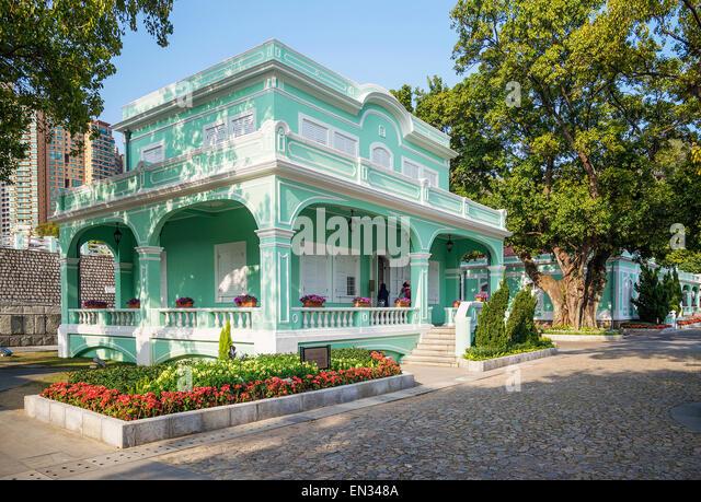portuguese style colorful house in taipa macau china - Stock Image