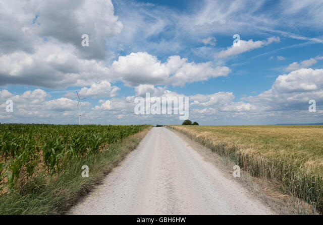 dusty Road through the fields in a dry summer - Stock Image