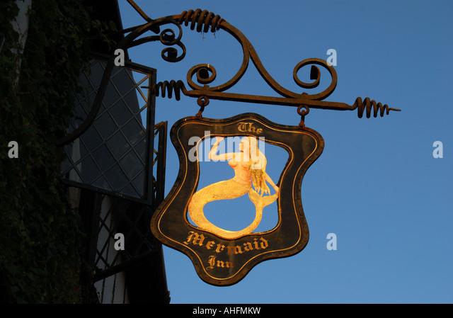 The Mermaid Inn sign, Mermaid Street, Rye, East Sussex, England, United Kingdom - Stock Image