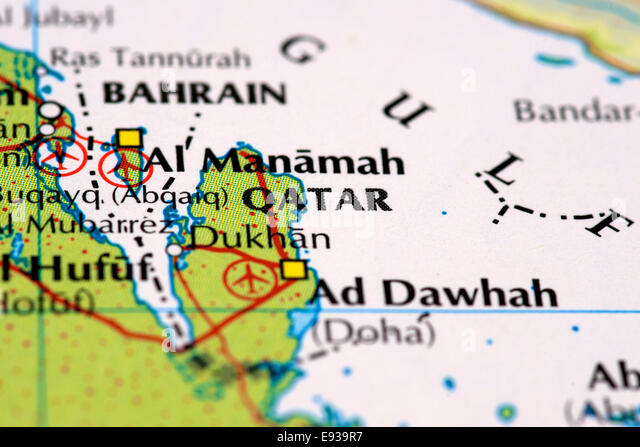 Close up of map of Qatar - Stock Image