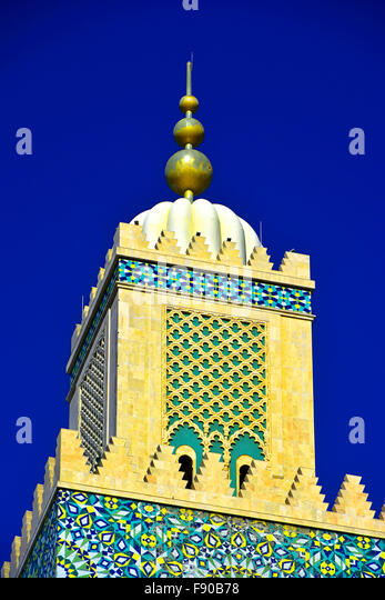 Casablanca Morocco Hassan II Mosque tower top detail - Stock Image