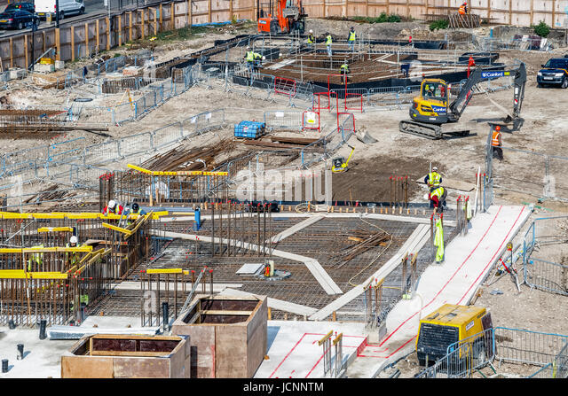 London, UK - March 27, 2017: construction site of Blackwall Reach, a new housing development in East London - Stock Image