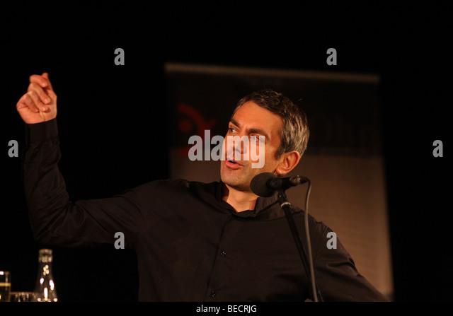 Author Wladimir Kaminer during a speech at the literature festival 'Ganz Ohr', Koblenz, Rhineland-Palatinate, - Stock-Bilder
