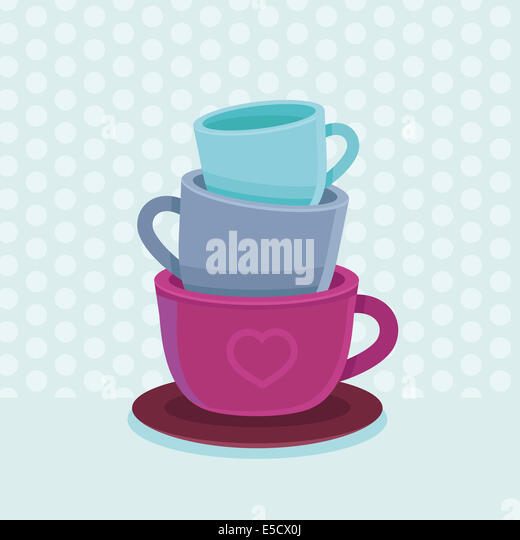 Stack of coffee mugs and cups - tea and coffee poster template - bright illustration in flat style - Stock Image
