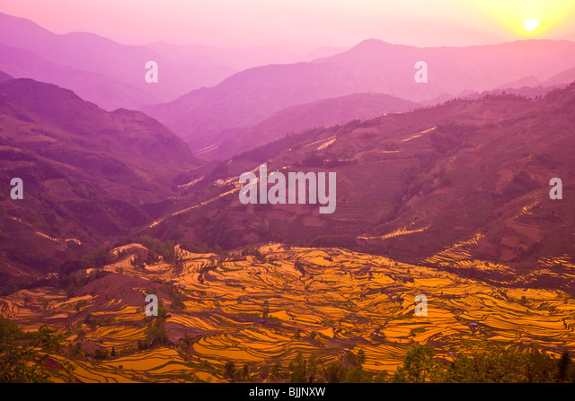 Yuan Yang rice terraces, Peoples Republic of China, Yunnan Province, Near Vietnamese border, UNESCO World Heritage - Stock Image