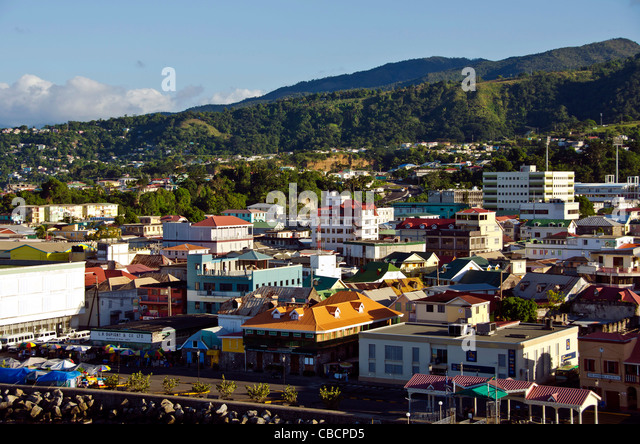 Roseau Dominica city overview above this Eastern Caribbean cruise port - Stock Image