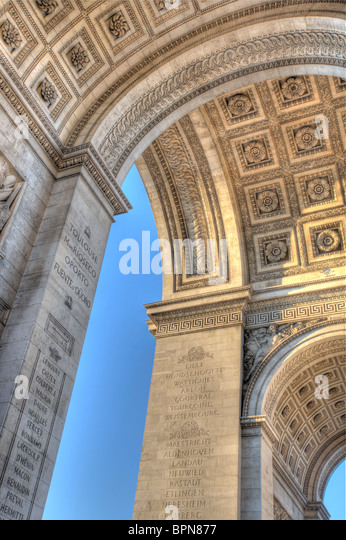 A view underneath the Arc de Triomphe in Paris. - Stock Image