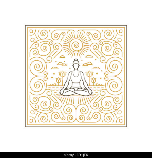 Linear illustration for t-shirt print, poster or greeting card - yoga concept - linear icons and frame with ornamental - Stock-Bilder