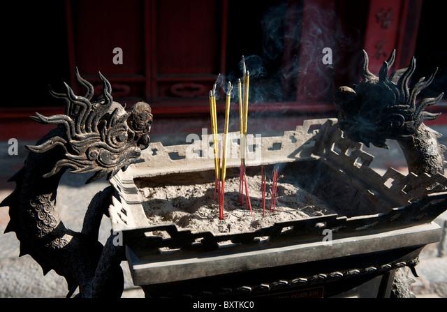 Incense burner, Temple of Literature, Hanoi, Vietnam - Stock Image