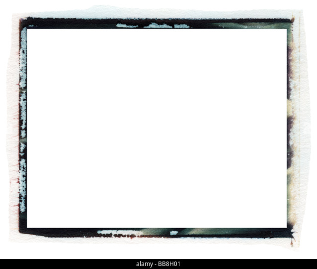 Polaroid transfer photo border isolated on white with room for copy and photos - Stock Image