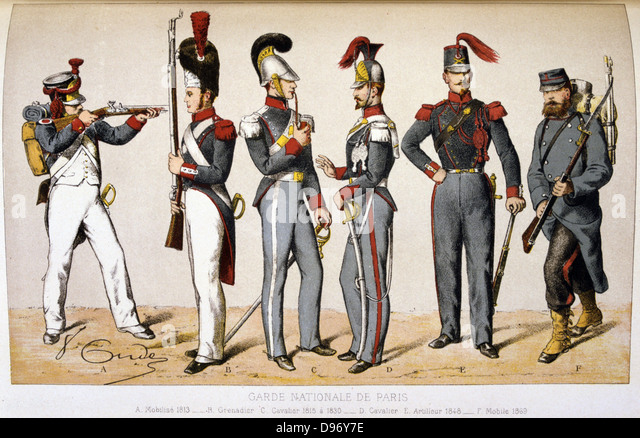 Memberes of the Parisian National Guard. 1869. 'From Histoire des corps de troupes de la ville de Paris' - Stock Image