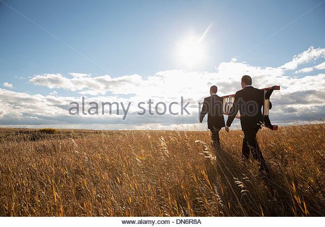 Businessmen carrying step ladder together through field - Stock Image