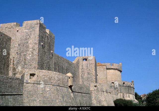 Dubrovnik Croatia Castle Old Town medieval Walled City - Stock Image