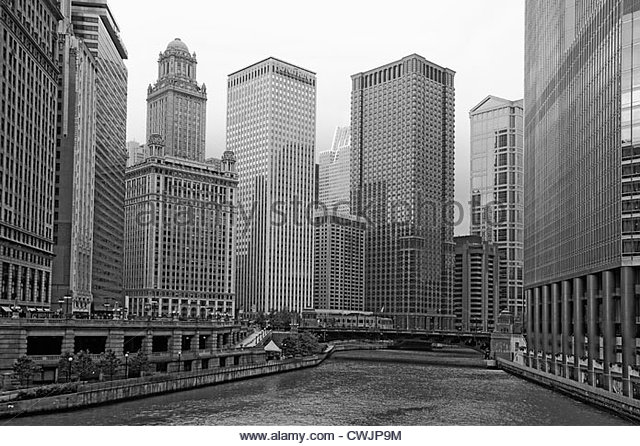 Chicago river and highrise buildings - Stock Image