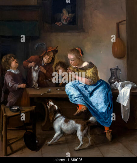 Children Teaching a Cat to Dance, The Dancing Lesson, by Jan Steen, 1660-79, oil on panel, Rijksmuseum, Amsterdam, - Stock Image