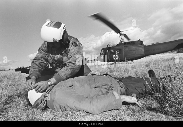 A New Mexico Air National Guard helicopter rescues an injured hunter from a mountaintop in northern New Mexico, - Stock Image
