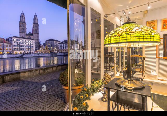 Art Deco shop, River Limmat, Grossmunster, Zurich, Switzerland - Stock Image