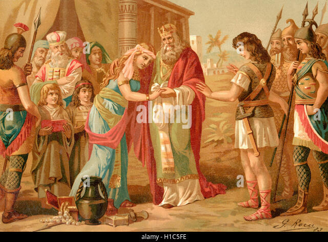 King Saul of Israel (centre) gives his daughter Michal's hand in marriage to David.  David, according to the - Stock Image