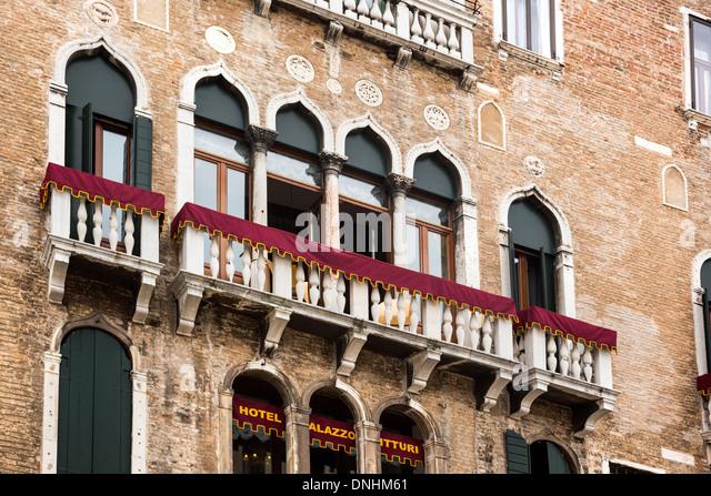 Low angle view of a hotel, Palazzo Vitturi, Campo Santa Maria Formosa, Venice, Veneto, Italy - Stock-Bilder