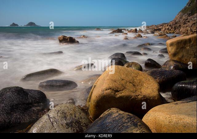 Porth Nanven beach, Cornwall, England, UK - Stock Image