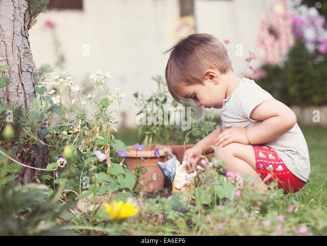 Child (2-3) playing in garden - Stock-Bilder