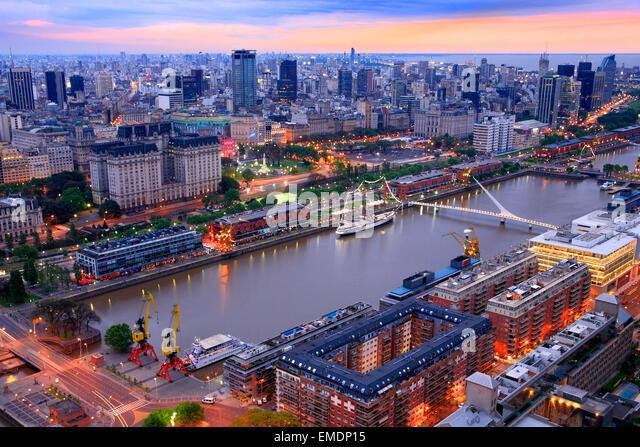 woman ´s Bridge and Sarmiento Frigate. Puerto Madero Buenos Aires Argentina - Stock Image