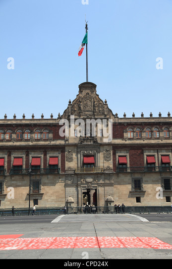 National Palace (Palacio Nacional), Zocalo, Plaza de la Constitucion, Mexico City, Mexico, North America - Stock Image