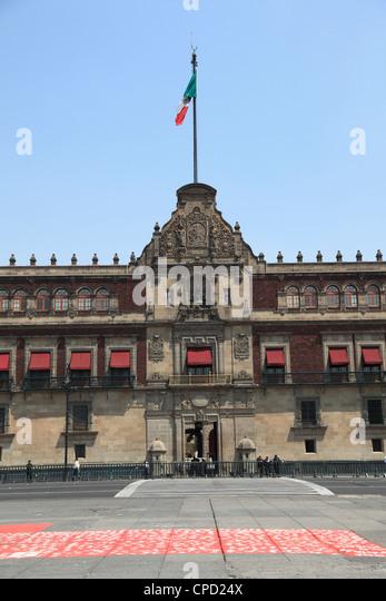 National Palace (Palacio Nacional), Zocalo, Plaza de la Constitucion, Mexico City, Mexico, North America - Stock Image