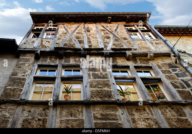 Old building in St Antonin Noble Val, Tarn et Garonne, France - Stock Image