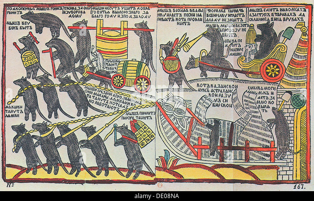 'The Mice are burying the Cat', Lubok print, 1760. - Stock Image